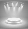 White stage with spotlight vector image