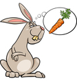 rabbit dream about carrot cartoon vector image