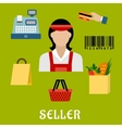 Seller concept with shopping icons vector image