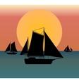 ship silhouette in the sea vector image
