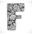 Doodles font from ornamental flowers - letter F vector image