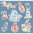 Nautical doodles on Torn Paper vector image vector image
