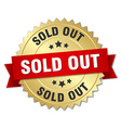 sold out 3d gold badge with red ribbon vector image