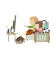 Couple watching television sitting on the couch vector image