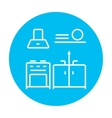 Kitchen interior line icon vector image