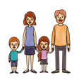 color crayon stripe cartoon family group with vector image