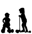 Kids with scooter and tricycle vector image vector image