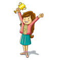 girl win a trophy vector image