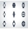 black wristwatch icon set vector image