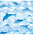 swimming dolphin seamless pattern sea wave marine vector image