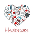 Healthcare medical heart poster vector image