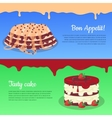 Bon Appetit and Tasty Cake Flat Banners vector image