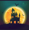 haunted hause of halloween in front of moon vector image