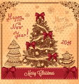 vintage card with christmas tree vector image
