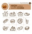 food and kitchen set vector image vector image