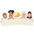 family holding a banner vector image