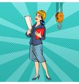 Business Woman Woman Engineer Woman in Helmet vector image