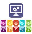 monitor settings icons set vector image