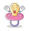 tongue out baby pacifier character cartoon vector image