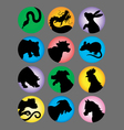 Chinese Zodiac Color Silhouettes vector image vector image