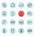 set of 16 cafe icons includes coffee cup stop vector image