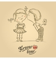 Hand drawn of kissing boy and girl vector image