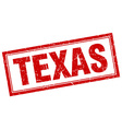 Texas red square grunge stamp on white vector image