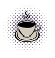 Cup of hot drink comics icon vector image