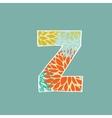 Grunge Letter Green Eco Style Font Symbol Z vector image