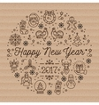 Happy New Year 2017 layout linear icons on vector image