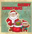 vintage retro christmas card vector image
