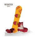 winter sport boots snowboard and gloves vector image