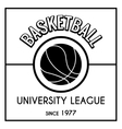 Black and white basketball emblem vector image