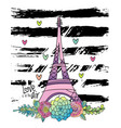 hand drawn floral love card eiffel tower vector image