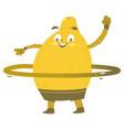 funny smiling lemon character with hula hoop