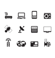 Silhouette technology communications icons vector image vector image