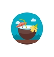Coconut Drink with Straw icon Summer Vacation vector image