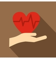 Hand holding red heart icon flat style vector image