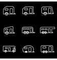 line trailer icon set vector image