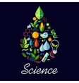 Science emblem in drop shape with symbols vector image
