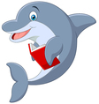 Standing little Dolphin holding book vector image