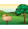 A blank signboard and a tree vector image