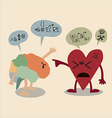 Confliction between Brain and Heart vector image