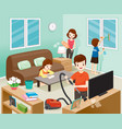 father mother son and daughter cleaning home vector image
