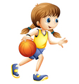 A cute young lady playing basketball vector image