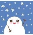 cute cartoon white kawaii snowmen with snowflakes vector image