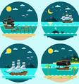 Flat design of pirate ships sailing vector image