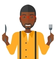 Hungry man waiting for food vector image