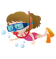 little girl diving under the water vector image