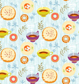Tea seamless pattern Stylized tea cups plates with vector image